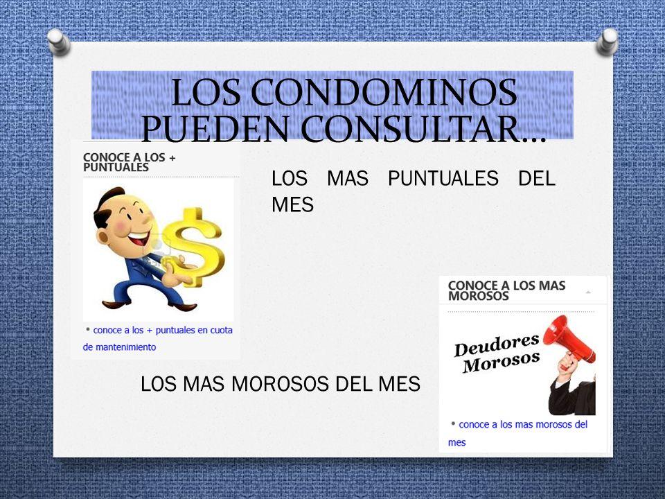 LOS MAS PUNTUALES DEL MES LOS MAS MOROSOS DEL MES LOS CONDOMINOS PUEDEN CONSULTAR…