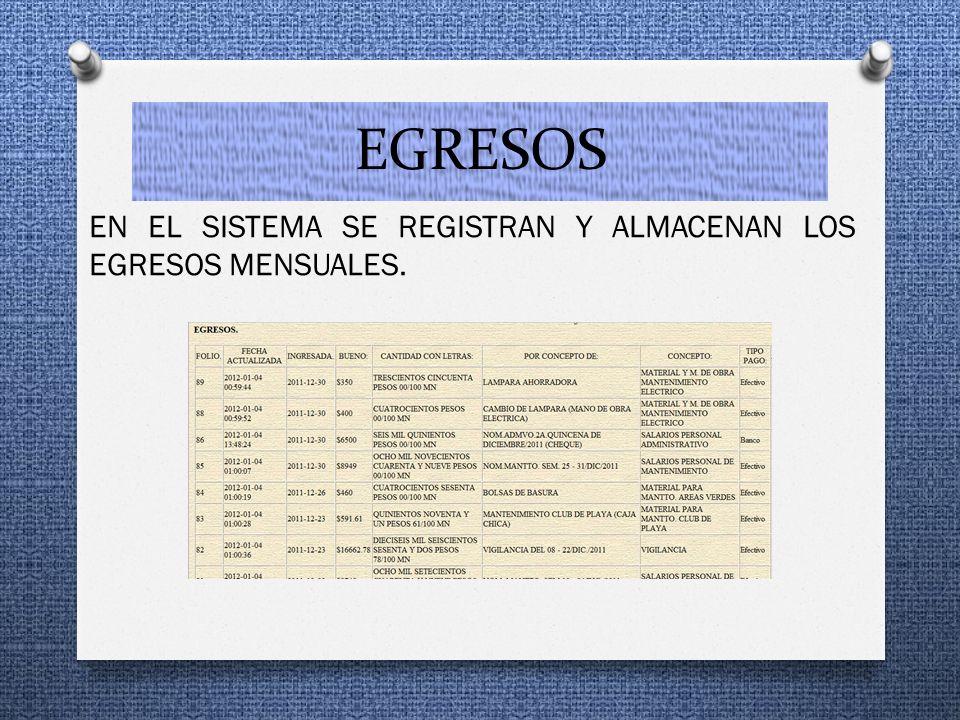 EGRESOS EN EL SISTEMA SE REGISTRAN Y ALMACENAN LOS EGRESOS MENSUALES.