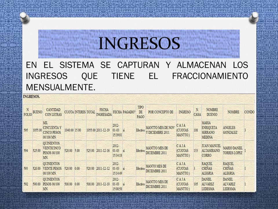 INGRESOS EN EL SISTEMA SE CAPTURAN Y ALMACENAN LOS INGRESOS QUE TIENE EL FRACCIONAMIENTO MENSUALMENTE.