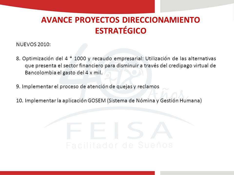 AVANCE PROYECTOS DIRECCIONAMIENTO ESTRATÉGICO NUEVOS 2010: 8.