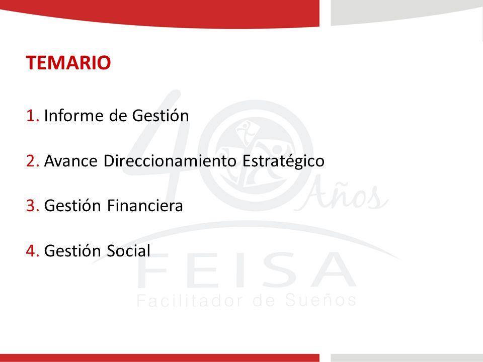 TEMARIO 1.Informe de Gestión 2.Avance Direccionamiento Estratégico 3.Gestión Financiera 4.Gestión Social