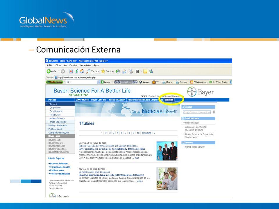 – Comunicación Externa