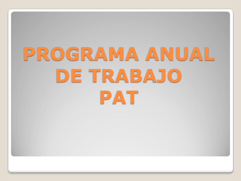 PROGRAMA ANUAL DE TRABAJO PAT