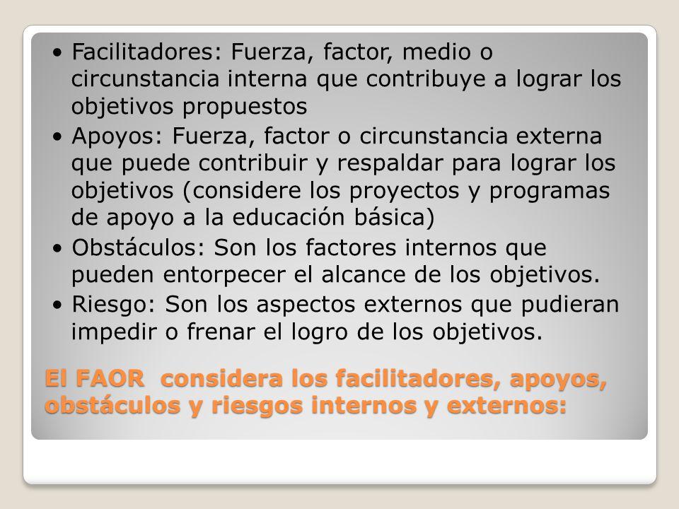 El FAOR considera los facilitadores, apoyos, obstáculos y riesgos internos y externos: Facilitadores: Fuerza, factor, medio o circunstancia interna qu