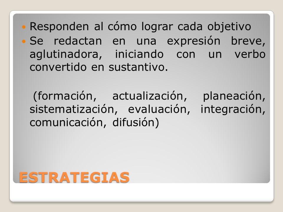 Responden al cómo lograr cada objetivo Se redactan en una expresión breve, aglutinadora, iniciando con un verbo convertido en sustantivo. (formación,
