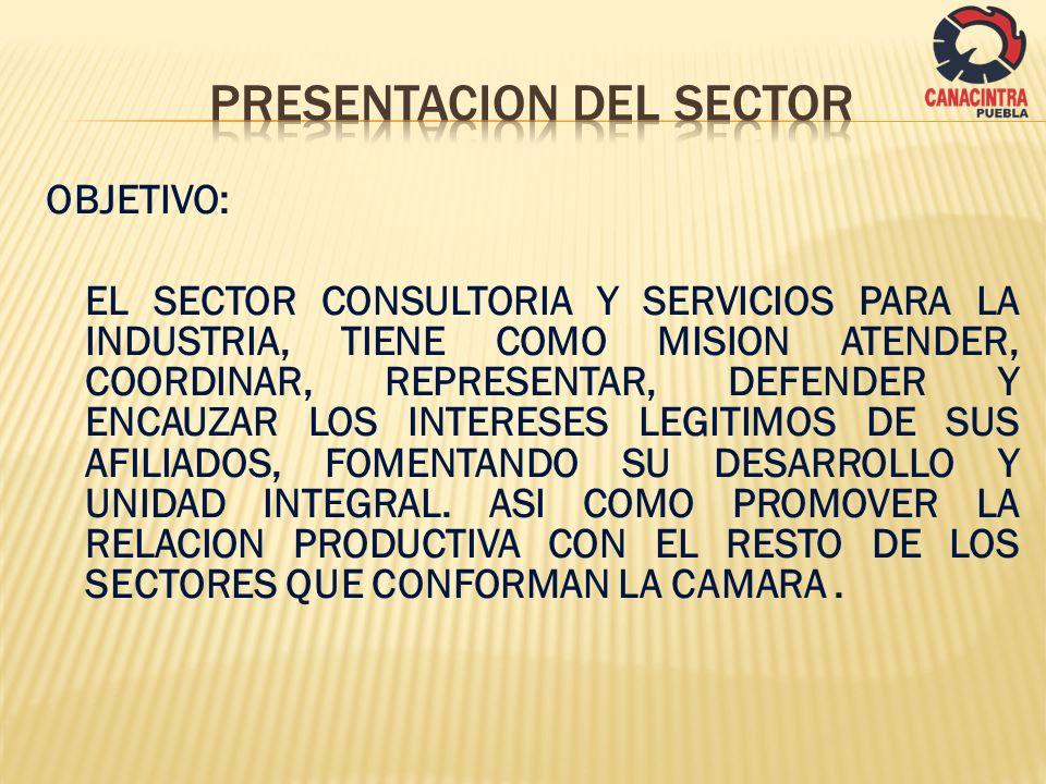 OBJETIVO: EL SECTOR CONSULTORIA Y SERVICIOS PARA LA INDUSTRIA, TIENE COMO MISION ATENDER, COORDINAR, REPRESENTAR, DEFENDER Y ENCAUZAR LOS INTERESES LE