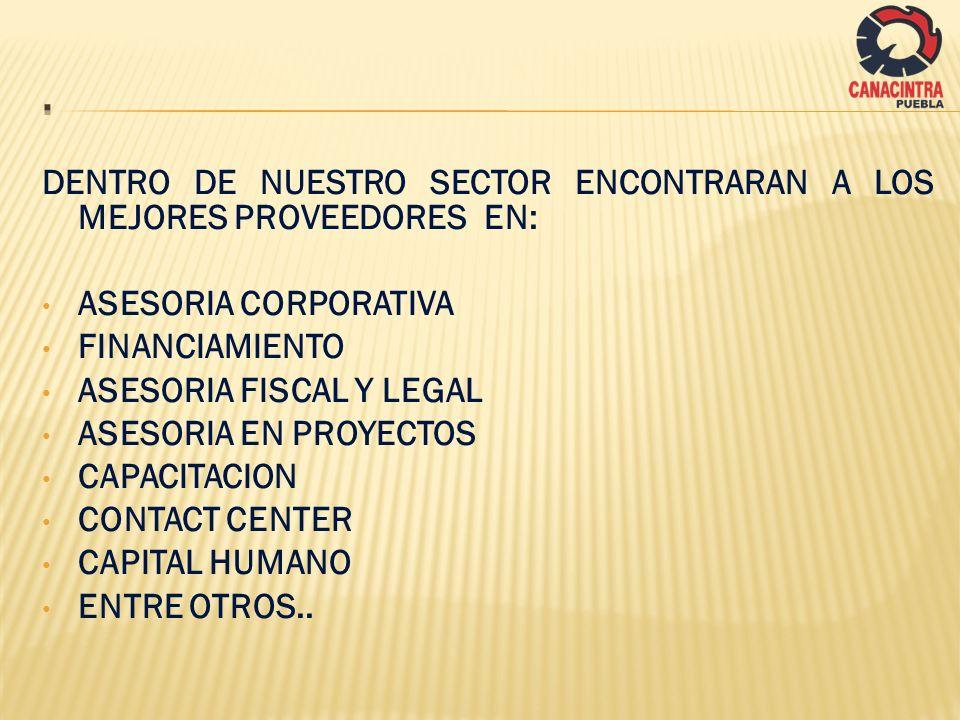 DENTRO DE NUESTRO SECTOR ENCONTRARAN A LOS MEJORES PROVEEDORES EN: ASESORIA CORPORATIVA FINANCIAMIENTO ASESORIA FISCAL Y LEGAL ASESORIA EN PROYECTOS C