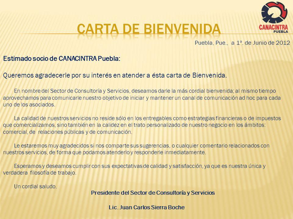 Puebla, Pue., a 1º. de Junio de 2012 Estimado socio de CANACINTRA Puebla: Queremos agradecerle por su interés en atender a ésta carta de Bienvenida. E