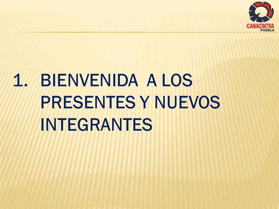 1.1 NUEVOS INTEGRANTES DEL SECTOR A)ERICK OLIVARES ( MERICK) B)OSCAR RIVAS RIVAS (ECOLTEC) C)SAMUEL TECANHUEY IZQUIERDO (TIP ADMINISTRACIÓN DEL CAPITAL HUMANO) D)ALEJANDRO DURAN MARTINEZ (MISMO) E)LUIS MARIANO SAAVEDRA LOZANO (SCH CONSULTORES) F)MA TERESA ALBERTINA AMBRIZ OLIVARES (DELTA Q SA DE CV) G)JESUS FELIPE ALAVE GRANDILLO ( IT & M) H)MARCELO VAZQUEZ TAVAR (SERVICIOS ADUANALES CONTINENTAL SA DE CV) I)JUAN PABLO ESPINOSA OLGUIN (IMPULSA ACELERADORA DE NEGOCIOS) J)OSWALDO LOPEZ SANCHEZ (GRUPO REGIONAL DEL PACIFICO OM SA DE CV/ GRUPACEL