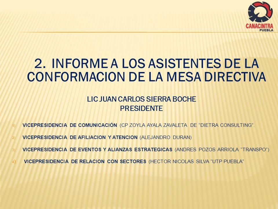 2.INFORME A LOS ASISTENTES DE LA CONFORMACION DE LA MESA DIRECTIVA LIC JUAN CARLOS SIERRA BOCHE PRESIDENTE 1) VICEPRESIDENCIA DE COMUNICACIÓN (CP ZOYL