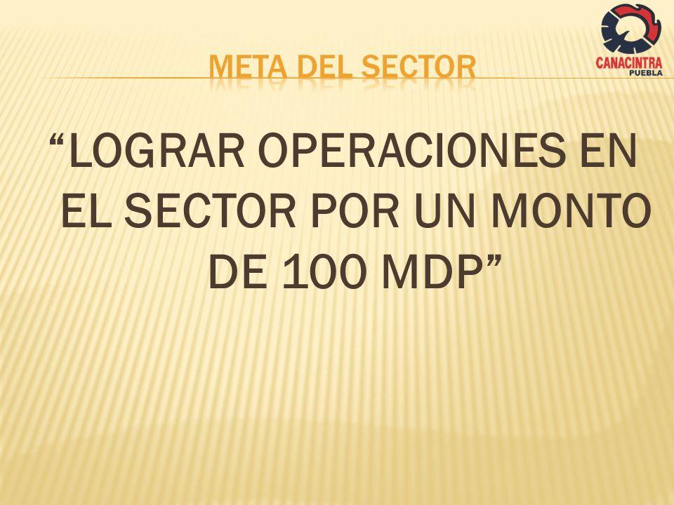 LOGRAR OPERACIONES EN EL SECTOR POR UN MONTO DE 100 MDP