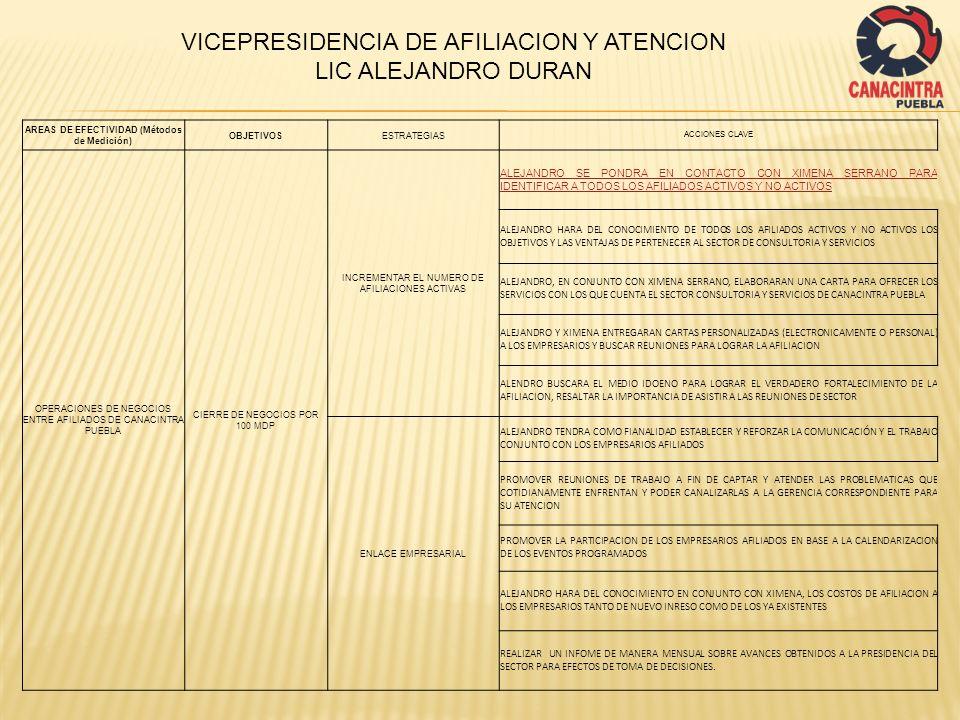 AREAS DE EFECTIVIDAD (Métodos de Medición) OBJETIVOSESTRATEGIAS ACCIONES CLAVE OPERACIONES DE NEGOCIOS ENTRE AFILIADOS DE CANACINTRA PUEBLA CIERRE DE NEGOCIOS POR 100 MDP OBTENCION DE LA INFORMACION CAPTAR LA INFORMACION DE INTERES GENERAL A EFECTOS DE DAR CONOCIMIENTO A LOS INTEGRANTES DEL SECTOR.