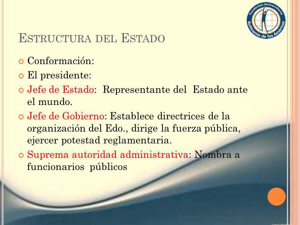 E STRUCTURA DEL E STADO Conformación: El presidente: Jefe de Estado: Representante del Estado ante el mundo. Jefe de Gobierno: Establece directrices d