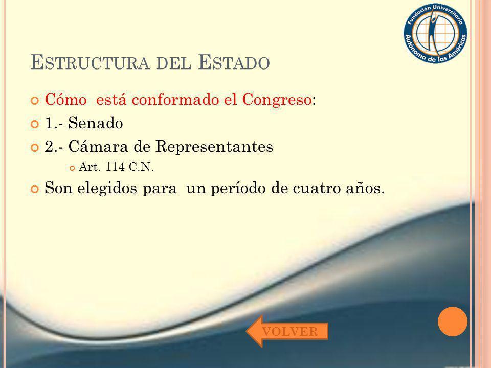 E STRUCTURA DEL E STADO Cómo está conformado el Congreso: 1.- Senado 2.- Cámara de Representantes Art. 114 C.N. Son elegidos para un período de cuatro
