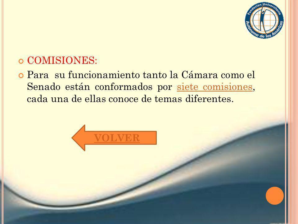 COMISIONES: Para su funcionamiento tanto la Cámara como el Senado están conformados por siete comisiones, cada una de ellas conoce de temas diferentes