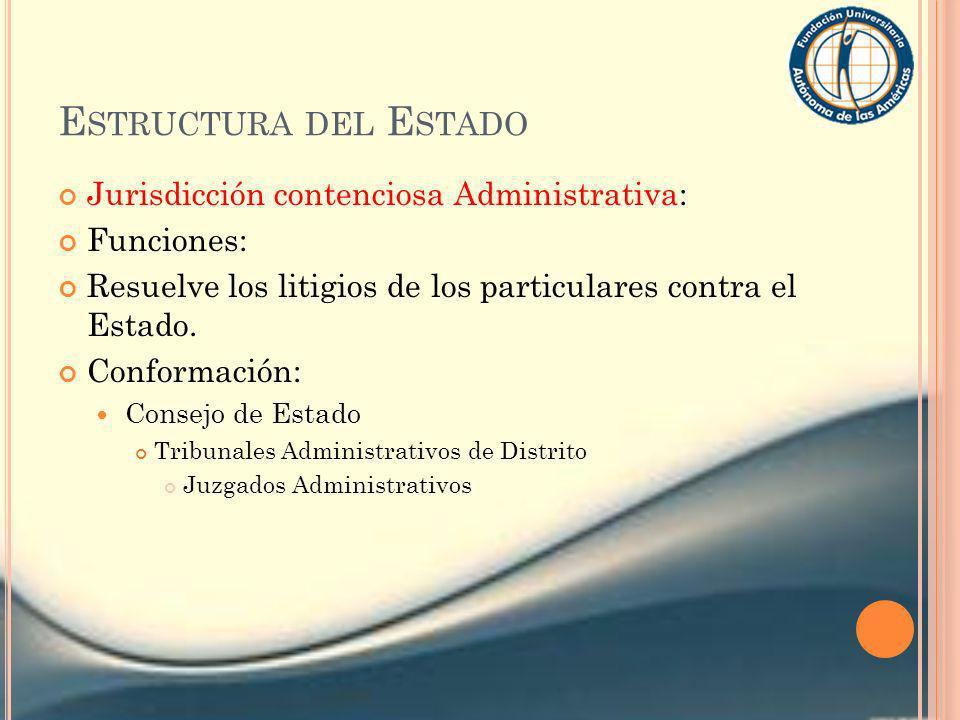 E STRUCTURA DEL E STADO Jurisdicción contenciosa Administrativa: Funciones: Resuelve los litigios de los particulares contra el Estado. Conformación: