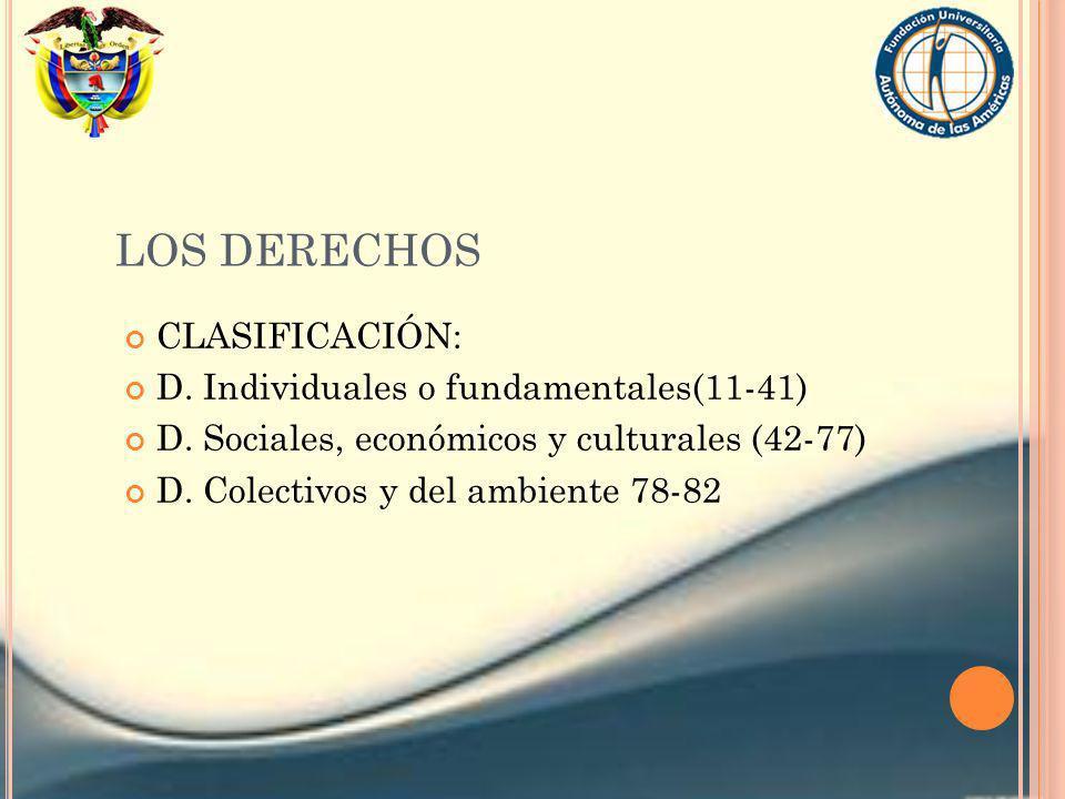 LOS DERECHOS CLASIFICACIÓN: D. Individuales o fundamentales(11-41) D. Sociales, económicos y culturales (42-77) D. Colectivos y del ambiente 78-82