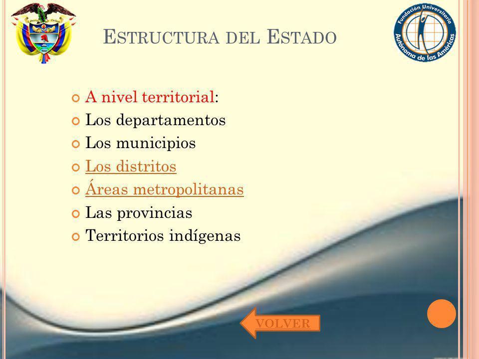 E STRUCTURA DEL E STADO A nivel territorial: Los departamentos Los municipios Los distritos Áreas metropolitanas Las provincias Territorios indígenas