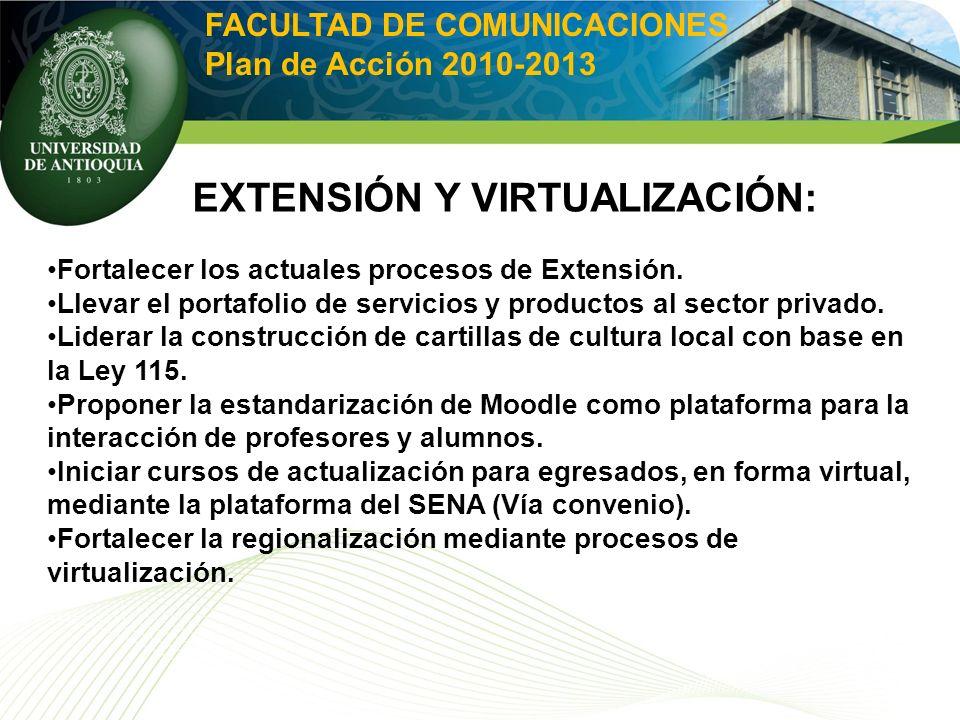 FACULTAD DE COMUNICACIONES Plan de Acción 2010-2013 EXTENSIÓN Y VIRTUALIZACIÓN: Fortalecer los actuales procesos de Extensión. Llevar el portafolio de