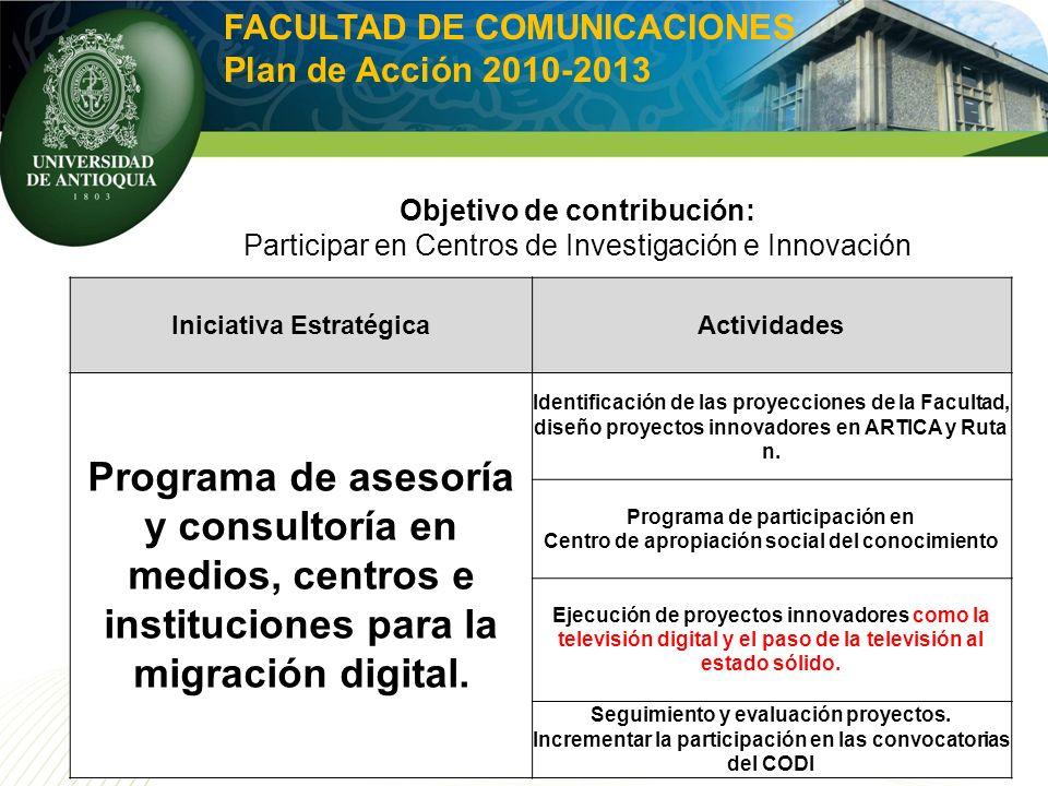Iniciativa EstratégicaActividades Programa de asesoría y consultoría en medios, centros e instituciones para la migración digital. Identificación de l