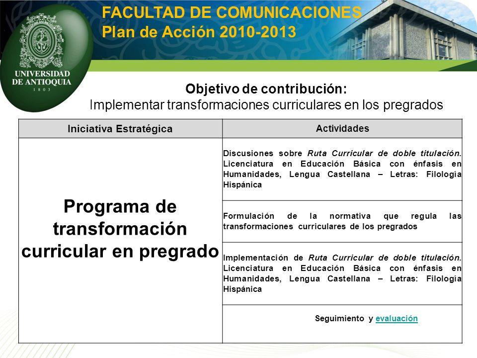 Iniciativa Estratégica Actividades Programa de transformación curricular en pregrado Discusiones sobre Ruta Curricular de doble titulación. Licenciatu