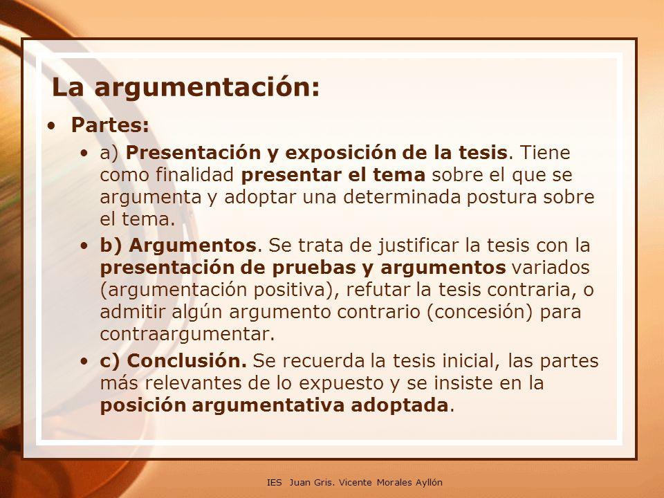 IES Juan Gris. Vicente Morales Ayllón La argumentación: Partes: a) Presentación y exposición de la tesis. Tiene como finalidad presentar el tema sobre