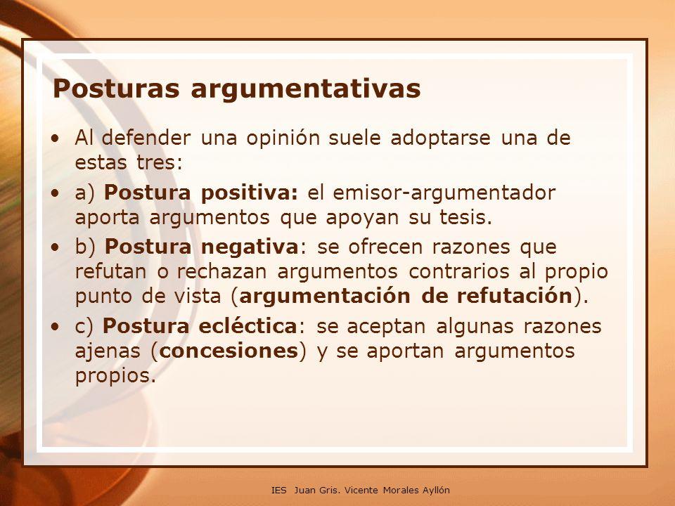 IES Juan Gris. Vicente Morales Ayllón Posturas argumentativas Al defender una opinión suele adoptarse una de estas tres: a) Postura positiva: el emiso