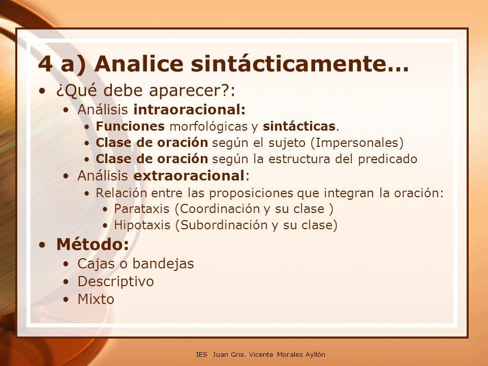 IES Juan Gris. Vicente Morales Ayllón 4 a) Analice sintácticamente… ¿Qué debe aparecer?: Análisis intraoracional: Funciones morfológicas y sintácticas