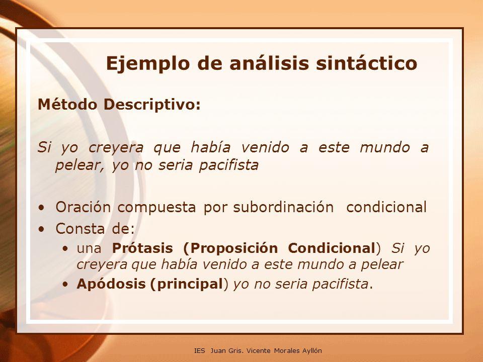 IES Juan Gris. Vicente Morales Ayllón Ejemplo de análisis sintáctico Método Descriptivo: Si yo creyera que había venido a este mundo a pelear, yo no s