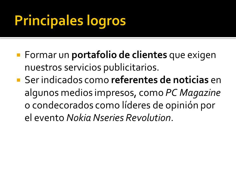 Formar un portafolio de clientes que exigen nuestros servicios publicitarios.