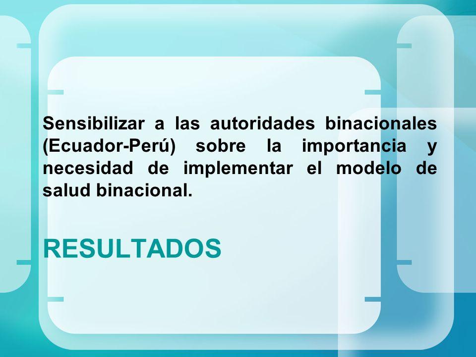 RESULTADOS Sensibilizar a las autoridades binacionales (Ecuador-Perú) sobre la importancia y necesidad de implementar el modelo de salud binacional.