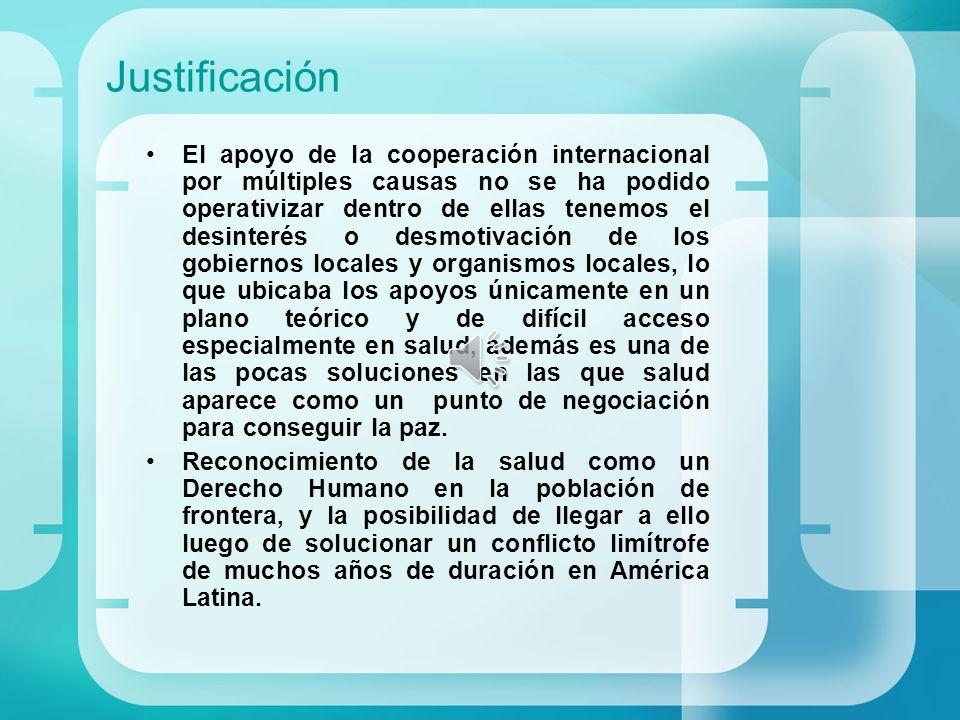 Justificación El apoyo de la cooperación internacional por múltiples causas no se ha podido operativizar dentro de ellas tenemos el desinterés o desmo