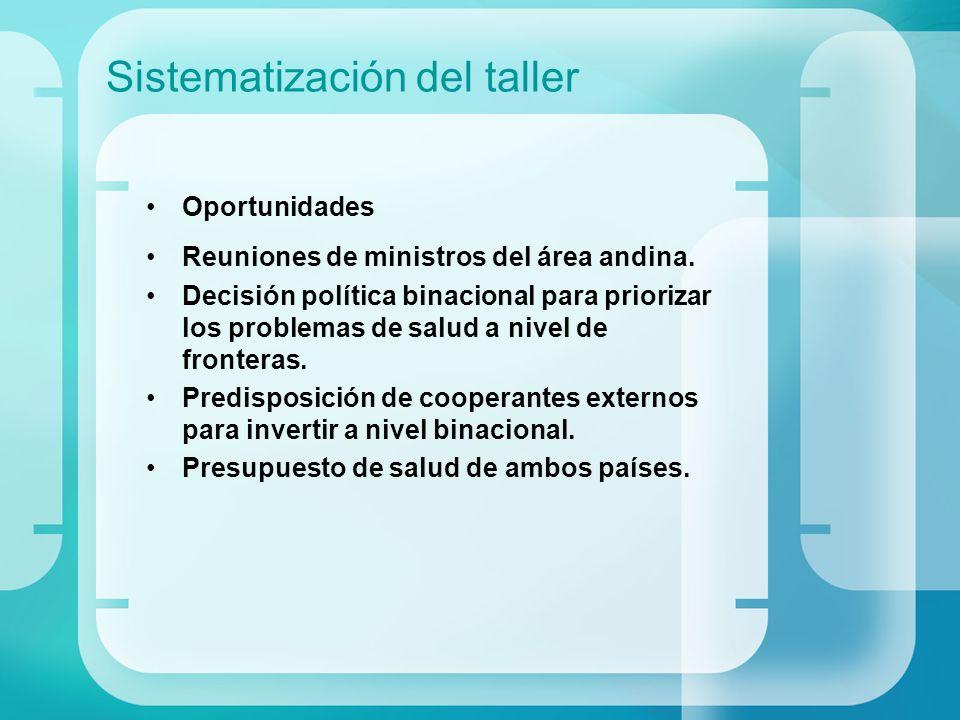 Sistematización del taller Oportunidades Reuniones de ministros del área andina. Decisión política binacional para priorizar los problemas de salud a