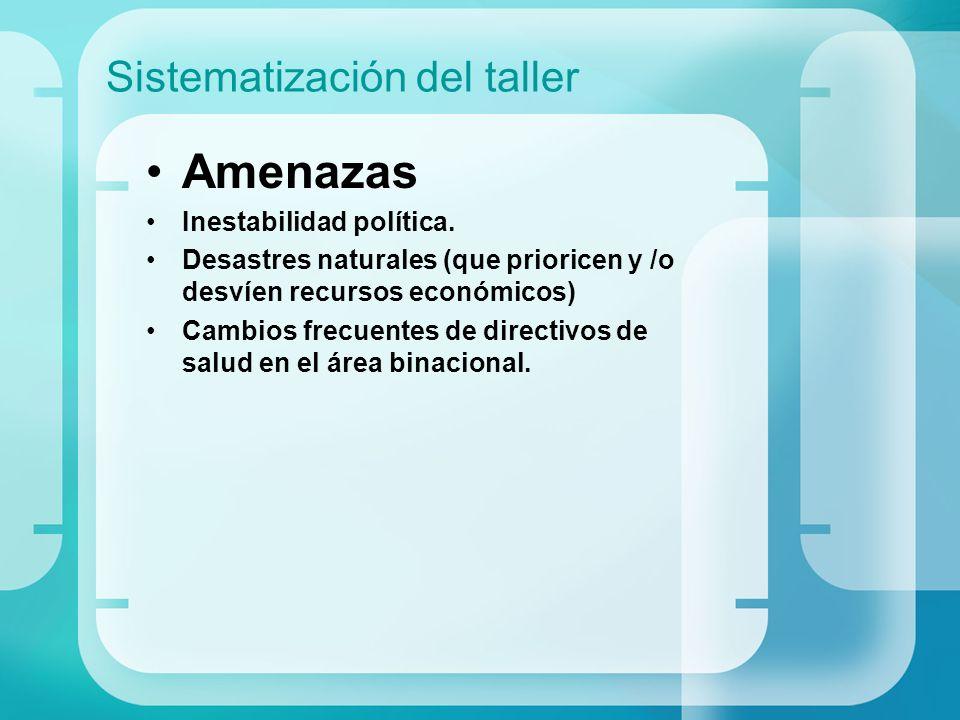 Sistematización del taller Amenazas Inestabilidad política. Desastres naturales (que prioricen y /o desvíen recursos económicos) Cambios frecuentes de
