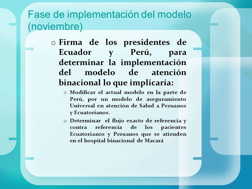 Fase de implementación del modelo (noviembre) o Firma de los presidentes de Ecuador y Perú, para determinar la implementación del modelo de atención b