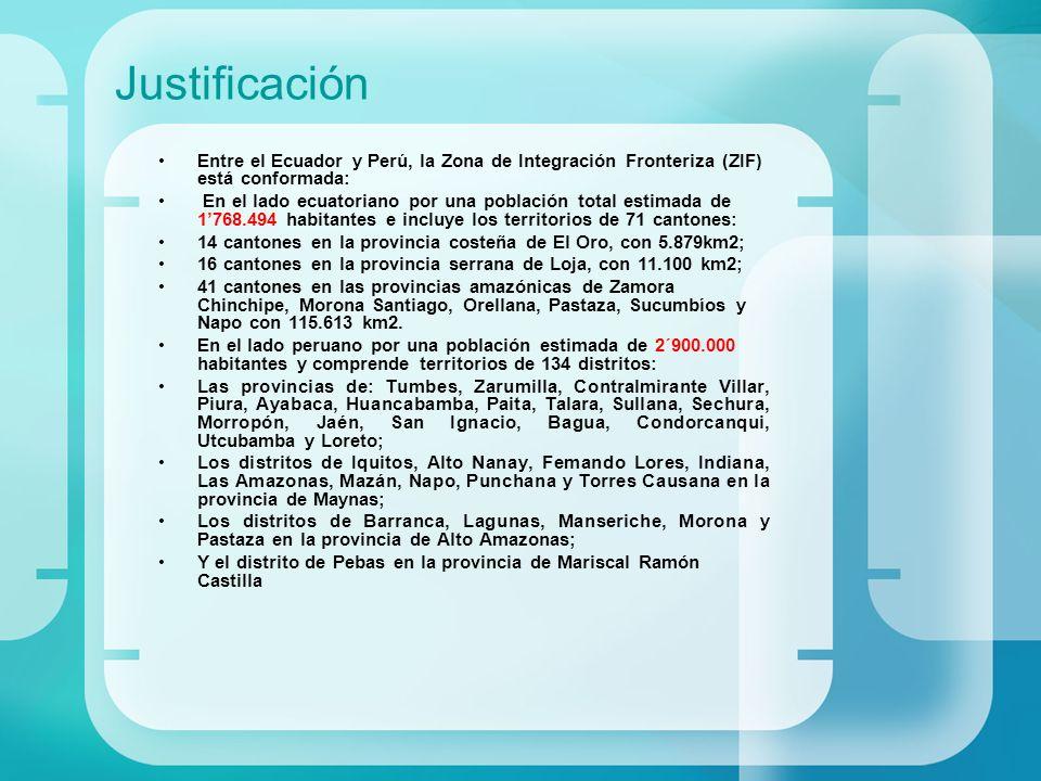 Justificación Entre el Ecuador y Perú, la Zona de Integración Fronteriza (ZIF) está conformada: En el lado ecuatoriano por una población total estimad