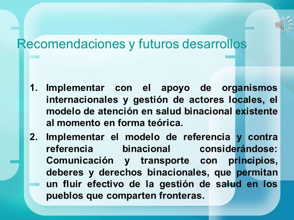 Recomendaciones y futuros desarrollos 1.Implementar con el apoyo de organismos internacionales y gestión de actores locales, el modelo de atención en