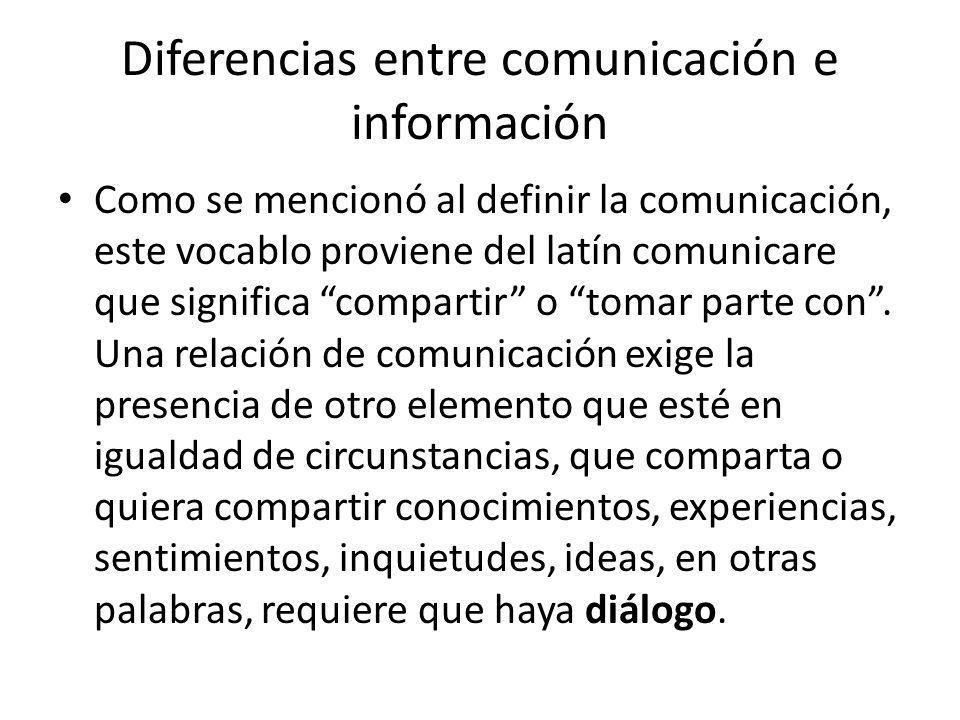 Diferencias entre comunicación e información Como se mencionó al definir la comunicación, este vocablo proviene del latín comunicare que significa com