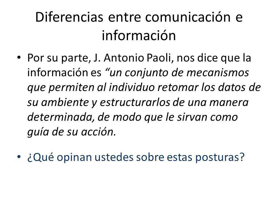 Diferencias entre comunicación e información Por su parte, J. Antonio Paoli, nos dice que la información es un conjunto de mecanismos que permiten al