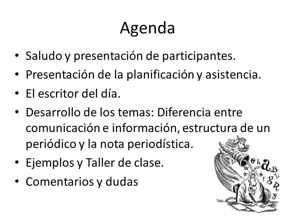 Agenda Saludo y presentación de participantes. Presentación de la planificación y asistencia. El escritor del día. Desarrollo de los temas: Diferencia