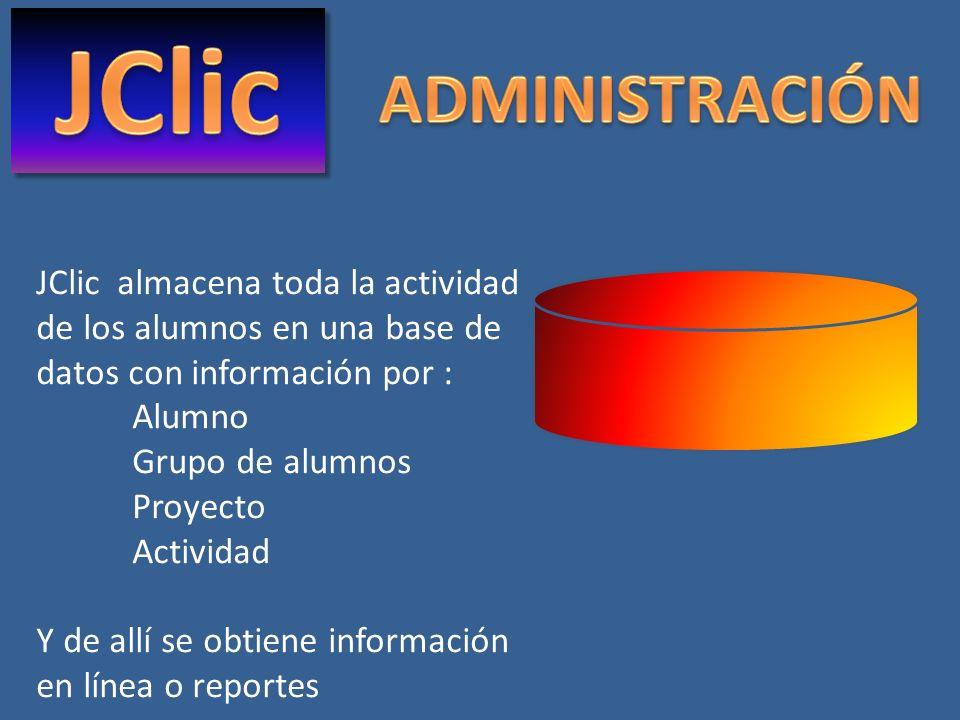JClic almacena toda la actividad de los alumnos en una base de datos con información por : Alumno Grupo de alumnos Proyecto Actividad Y de allí se obt