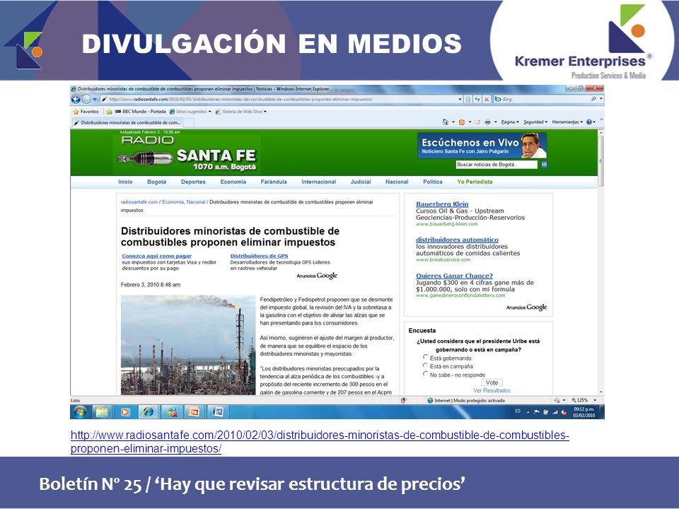 Boletín Nº 25 / Hay que revisar estructura de precios http://www.radiosantafe.com/2010/02/03/distribuidores-minoristas-de-combustible-de-combustibles- proponen-eliminar-impuestos/ DIVULGACIÓN EN MEDIOS