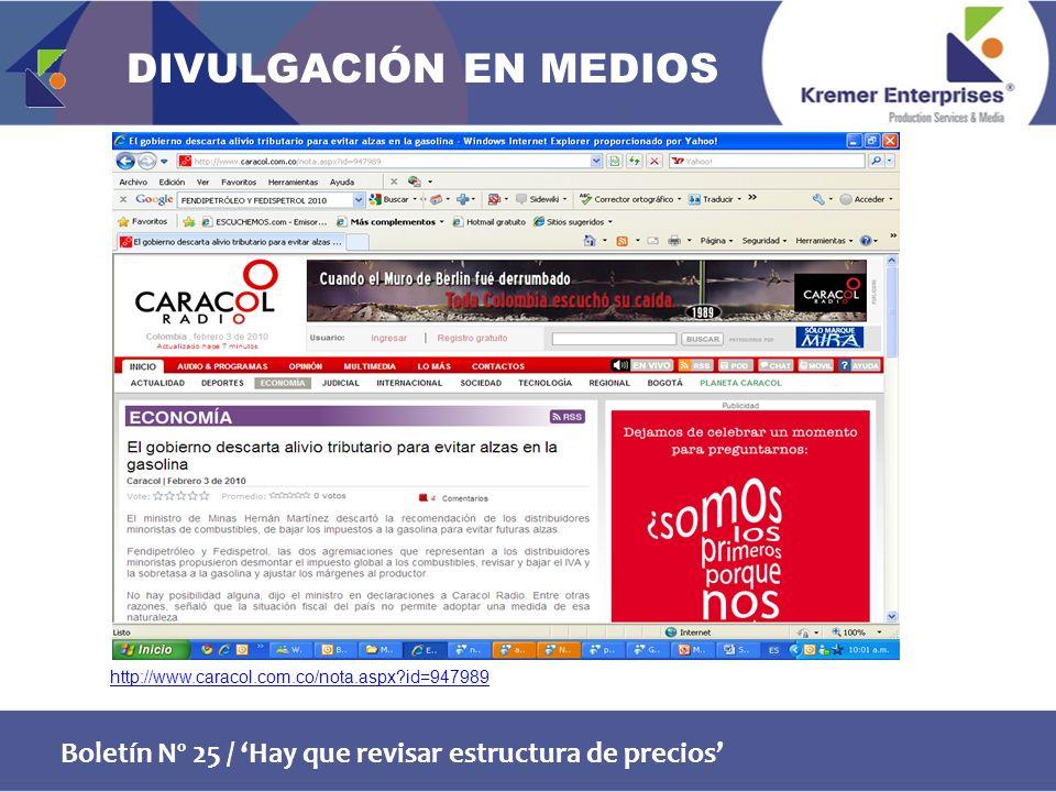 Boletín Nº 25 / Hay que revisar estructura de precios http://www.caracol.com.co/nota.aspx id=947989 DIVULGACIÓN EN MEDIOS