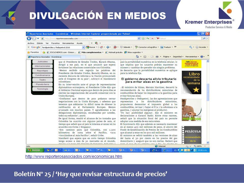 Boletín Nº 25 / Hay que revisar estructura de precios http://www.reporterosasociados.com/economicas.htm DIVULGACIÓN EN MEDIOS