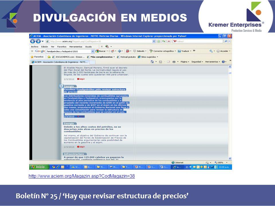 Boletín Nº 25 / Hay que revisar estructura de precios http://www.aciem.org/Magazin.asp CodMagazin=38 DIVULGACIÓN EN MEDIOS