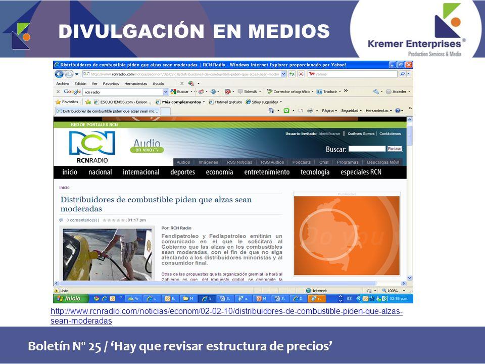 Boletín Nº 25 / Hay que revisar estructura de precios http://www.rcnradio.com/noticias/econom/02-02-10/distribuidores-de-combustible-piden-que-alzas- sean-moderadas DIVULGACIÓN EN MEDIOS