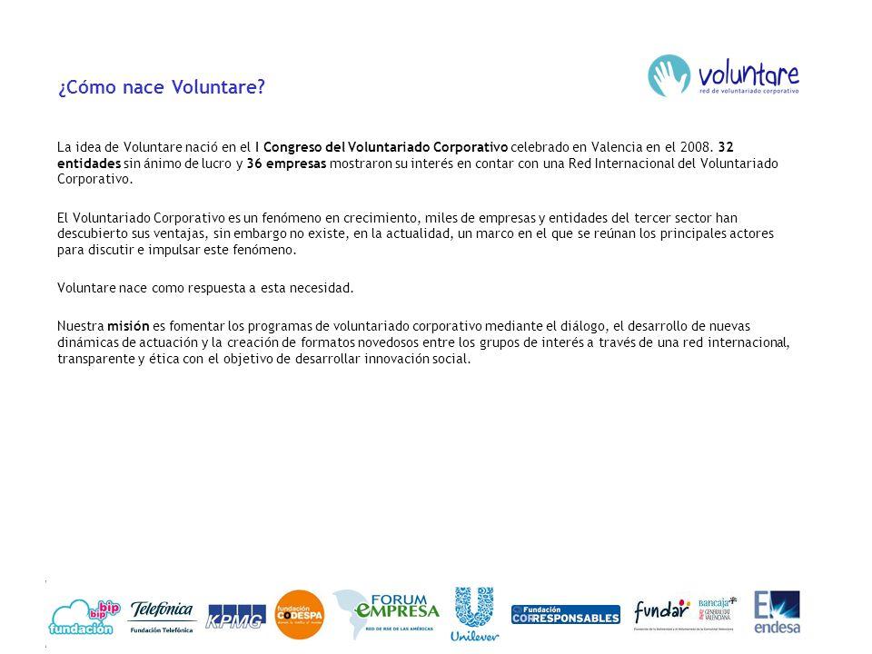 ¿Cómo nace Voluntare? La idea de Voluntare nació en el I Congreso del Voluntariado Corporativo celebrado en Valencia en el 2008. 32 entidades sin ánim