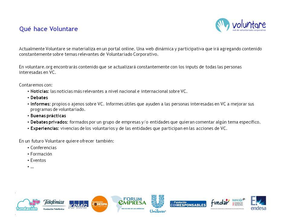 Qué hace Voluntare Actualmente Voluntare se materializa en un portal online. Una web dinámica y participativa que irá agregando contenido constantemen