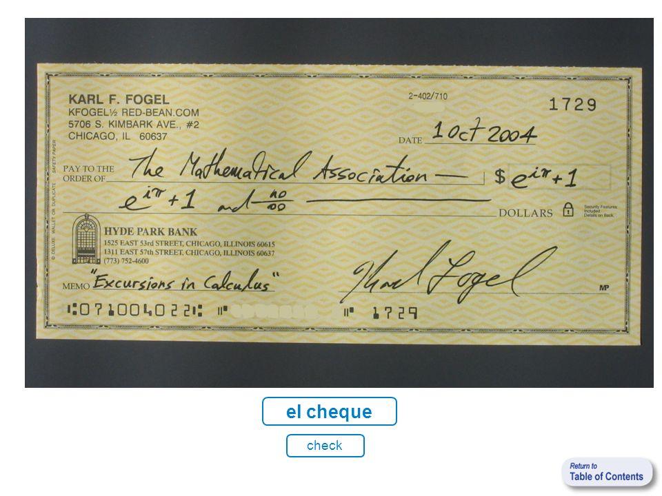 el cheque check