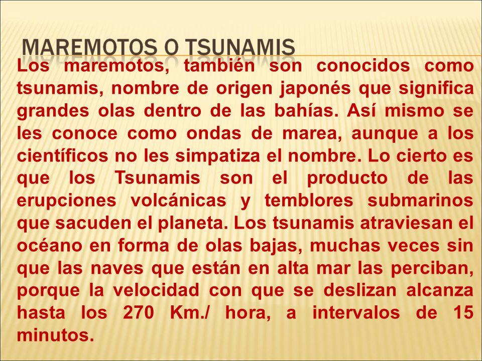 Los maremotos, también son conocidos como tsunamis, nombre de origen japonés que significa grandes olas dentro de las bahías. Así mismo se les conoce